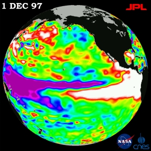 The 1997 El Niño as seen from the TOPEX-Poseidon space probe.
