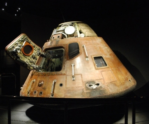 Apollo 14 Command Module. A sophisticated guidance computer had to fit inside this small space along with three astronauts.