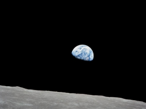 Earth rising over the Moon as seen from Apollo 8.