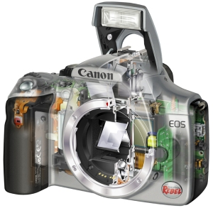 Digital cameras, such as this Canon Rebel, use CMOS or CCD sensors developed originally for space probes.