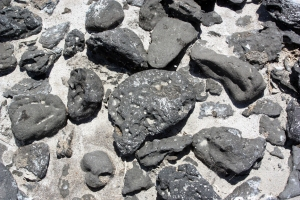 Basalt bones and oolitic sand at the shoreline of Great Salt Lake