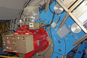 The FORCAST instrument mounted to the telescope flange on SOFIA.