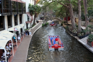 The Riverwalk in downtown San Antonio.