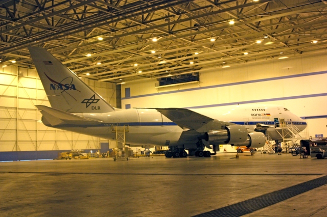 SOFIA in the main hangar at DAOF.