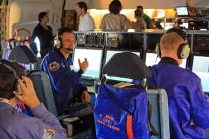 The Airborne Astronomy Ambassador station aboard SOFIA, with Dana Backman, Matt Oates, and Dan Ruby.