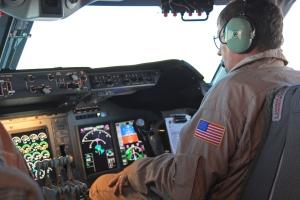 Co-pilot and cockpit of SOFIA, with new digital avionics.