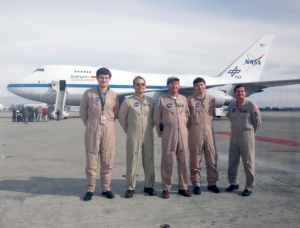 My photo of a photo of the flight crews of SOFIA, undistorted.