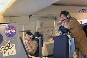 Karina Leppik, Science Flight Planner, and Randy Grashuis, Mission Director.