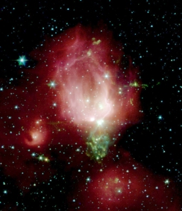 NGC 7129, the Rose Nebula, as seen in infrared by the Spitzer Space Telescope.