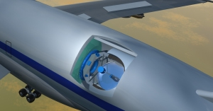 3D render of the telescope cavity. The telescope can rotate up and down, but the entire plane must change its heading to slew the scope's azimuth.