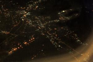 A city below us.