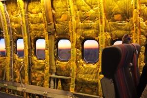 Dawn through SOFIA's windows as we head back to Palmdale.