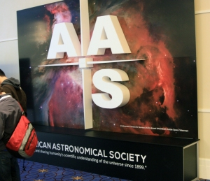 Sign for the American Astronomical Society conference in Washington, D.C.