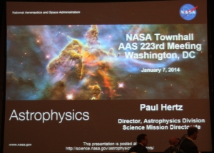 Title slide from Dr. Paul Hert's presentation for the Astrophysics Town Hall