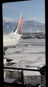 Our icy plane at Salt Lake International Airport