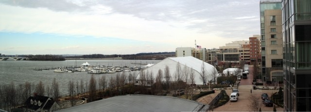 View of National Harbor, Maryland from the Gaylord National Resort.