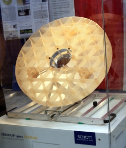 The honeycomb pattern milled from Zerodur glass for the SOFIA telescope.