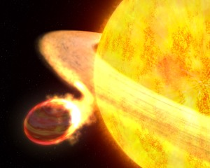 A giant star eating a planet as it expands. We will be looking for infrared signatures indicating a ring debris such as shown here.