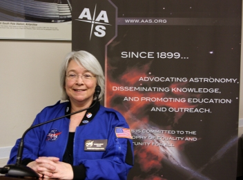 Peggy Piper speaking at the State of the Universe briefing, Jan. 9, 2014.