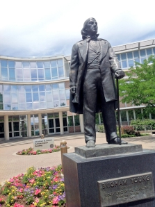 Statue of Brigham Young on BYU campus. Local legend claims that if you run past him quickly, he will do the funky chicken dance.