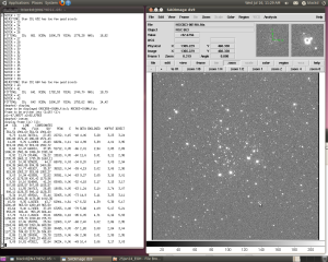 Using the IMEXAM command to determine parameters such as FWHM in NGC663.