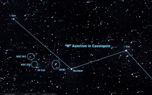 Target open clusters in Cassiopeia. They are left of Ruchbah and northwest of 44 Cas. All three are part of the same Cassiopeia Stream of gas and dust about 8000 light years away in the Perseus spiral arm.