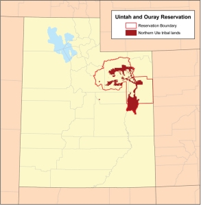 The Uintah and Ouray Reservation. The outlined area is the original boundary of the reservation. The dark red areas are the sections actually controlled by the Ute Tribal government. Fort Duchesne is the government center for the reservation.