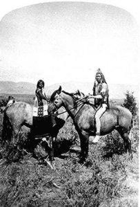 A Ute warrior on horseback.