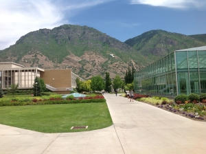 Y Mount and the Lee Library Atrium at BYU