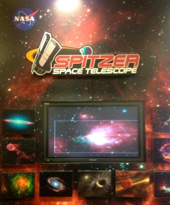 Poster with images taken by the Spitzer Space Telescope in infrared