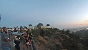 Griffith Observatory at twilight, overlooking downtown Los Angeles.