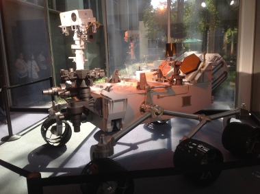 This is a mock up of the Curiosity Rover (Mars Science Lab) now on Mars. It is in the lobby of the 180 Administration Building at JPL.
