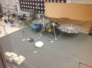 The test bed for the InSight Mars Lander at the In-Situ Instruments Lab (ISIL) at JPL.