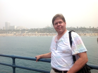David Black on Santa Monica Pier looking back at the beach; August 2, 2014.