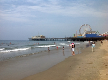Santa Monica Pier and beach on August 2, 2014.