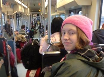 Rosie on the SeaTac light rail