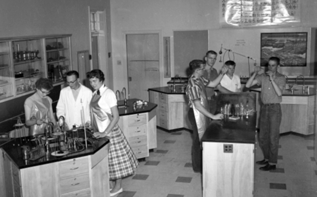 Mr Jacobsen in old Delta HS lab-s
