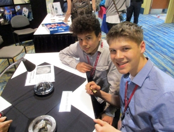 Students with moon rocks