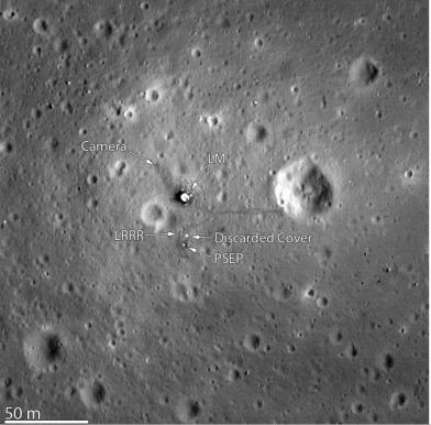 Apollo 11 landing site from Lunar Recon