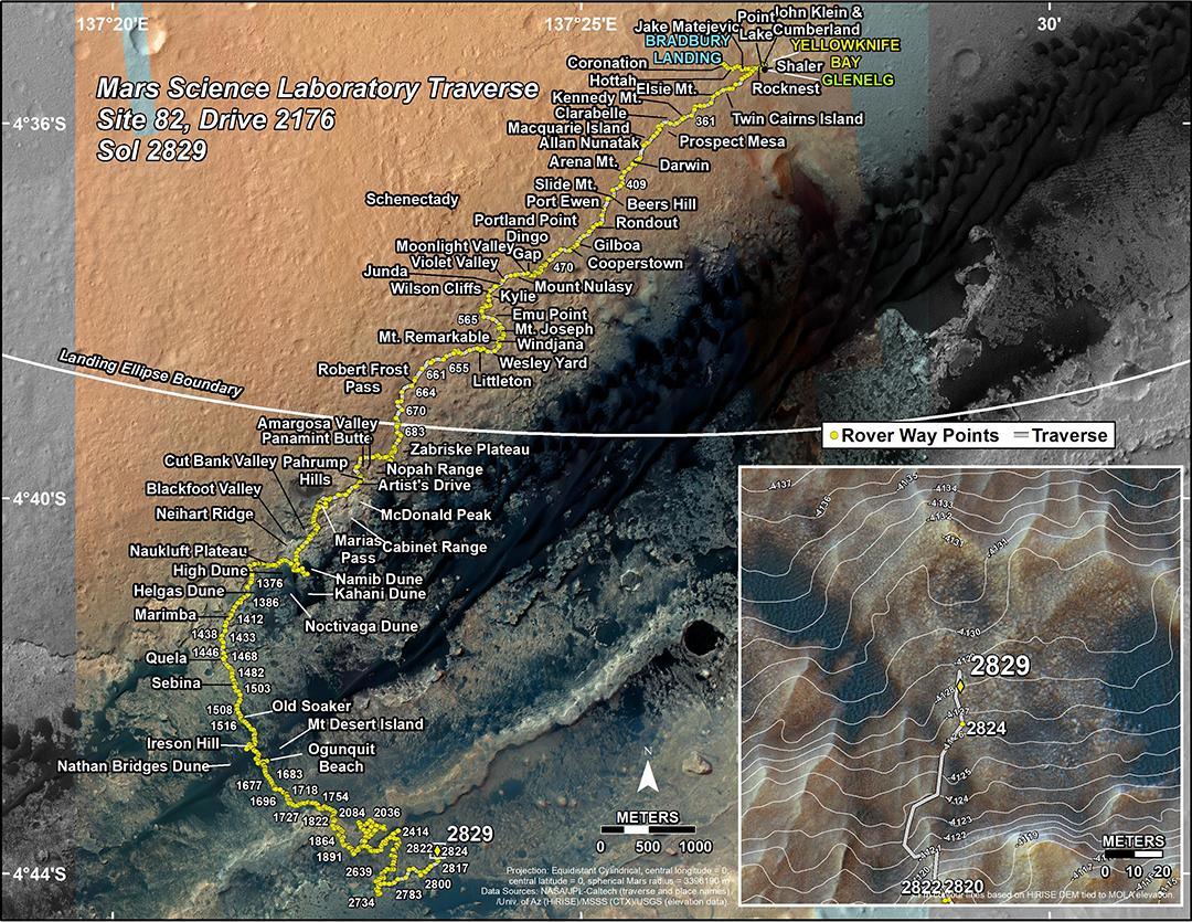 Curiosity path through Sol 2829
