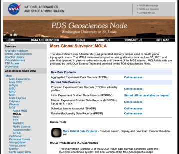 PDS-MOLA page